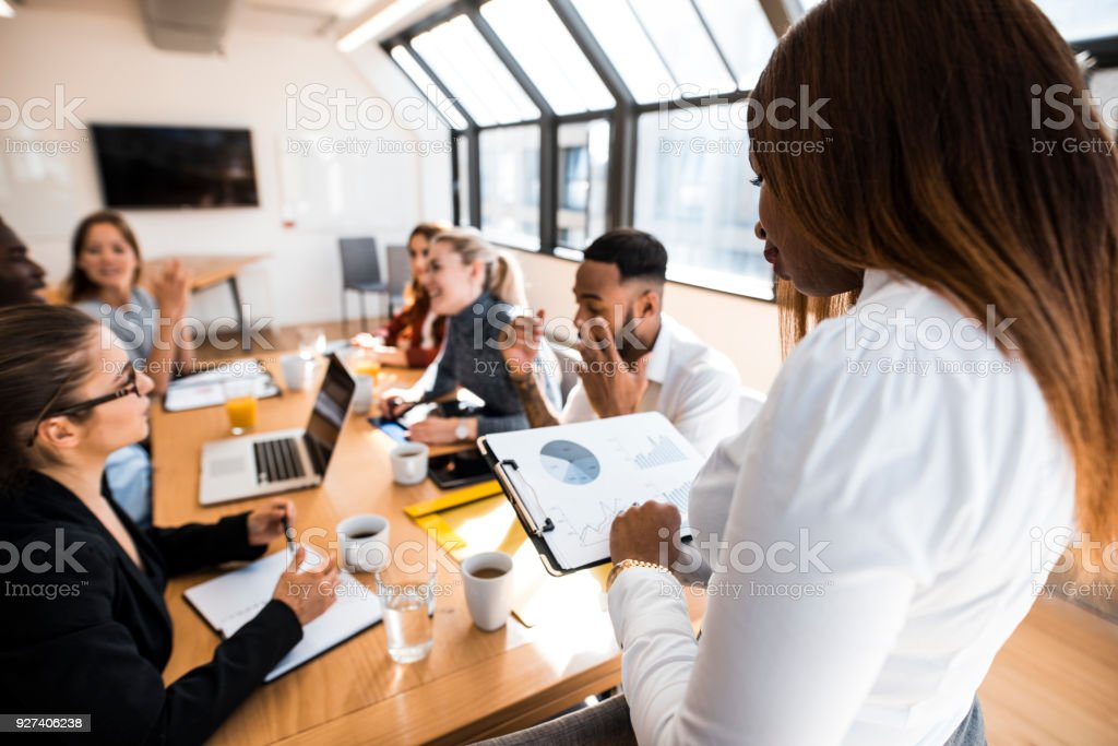 Businesspeople having a business meeting in the office stock photo