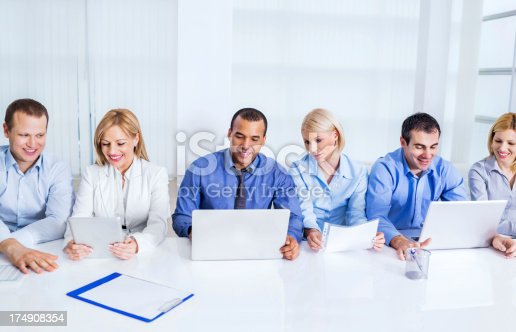 669854210 istock photo Businesspeople having a meeting in board room. 174908354