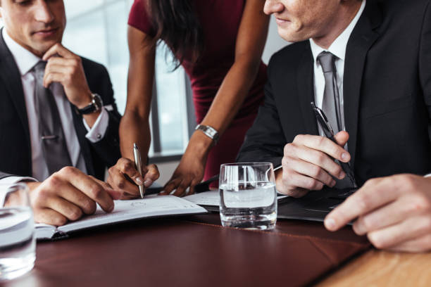 Businesspeople having a meeting in office stock photo