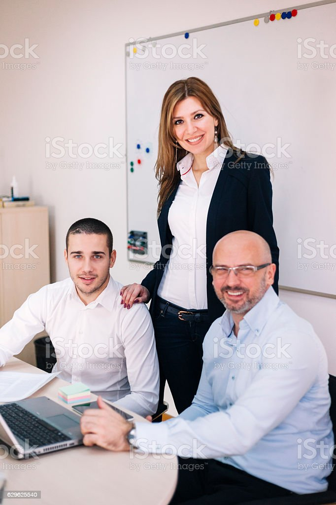 Businesspeople Having Informal Meeting In Modern Office royalty-free stock photo