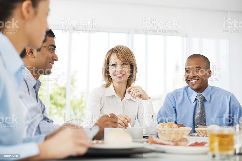 Businesspeople having lunch indoors. royalty-free stock photo