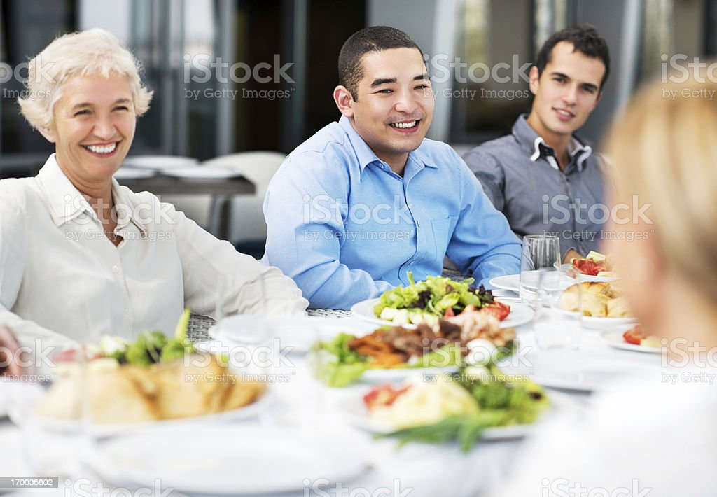 Businesspeople having lunch. stock photo