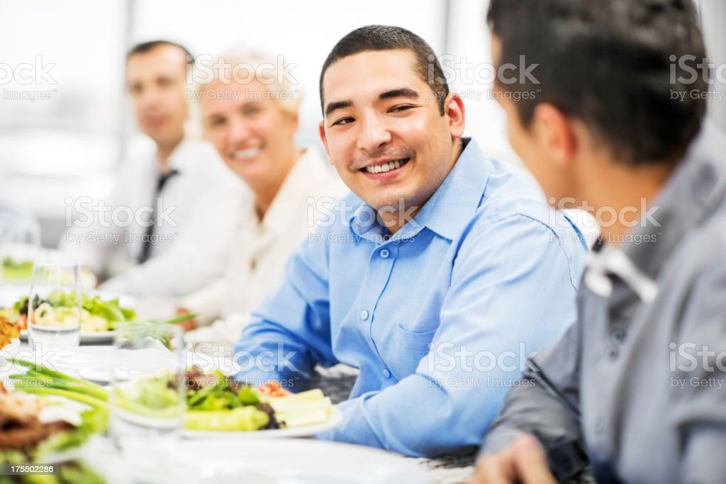 Businesspeople having lunch stock photo