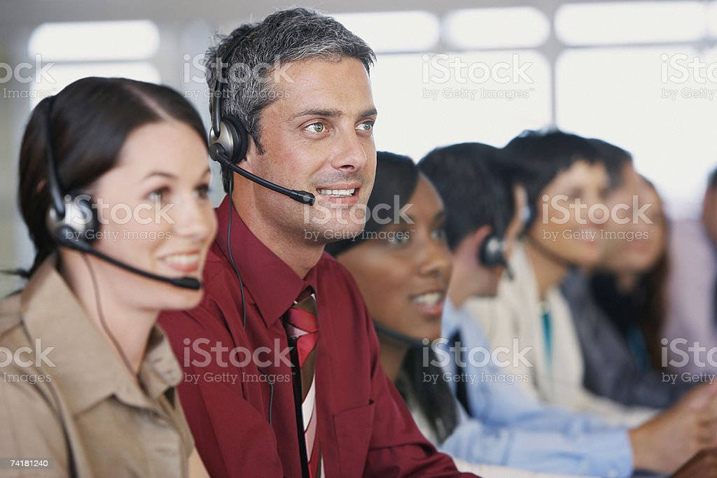 Businesspeople in meeting with translation royalty-free stock photo