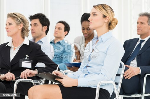 istock Businesspeople In Seminar 483661501