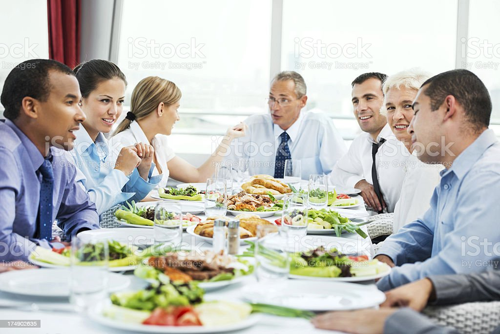 Businesspeople on lunch. stock photo