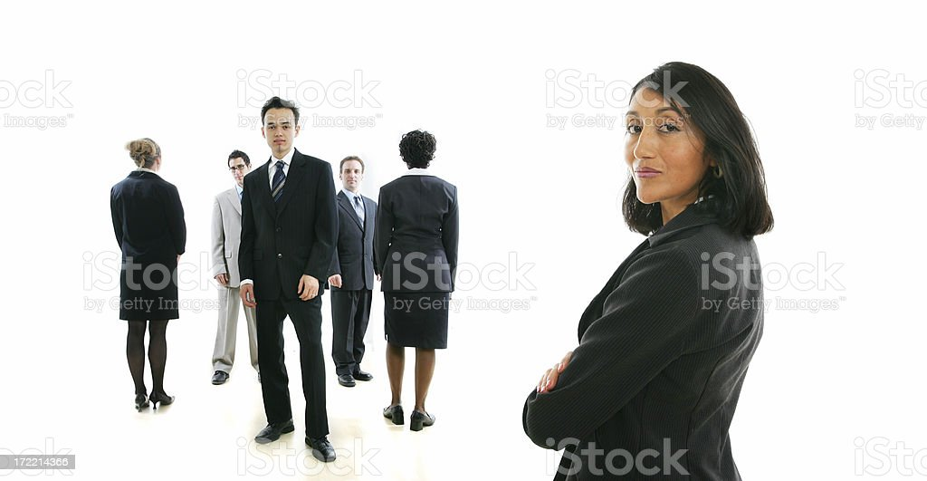 Businesspeople series : woman and her team IV royalty-free stock photo