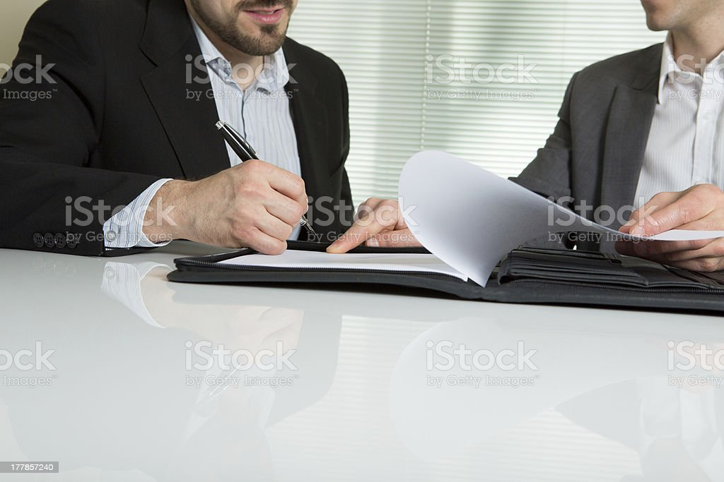 businesspeople sign up contract stock photo