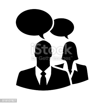 istock Businesspeople silhouette icon with chatting or comment bubbles 519107827