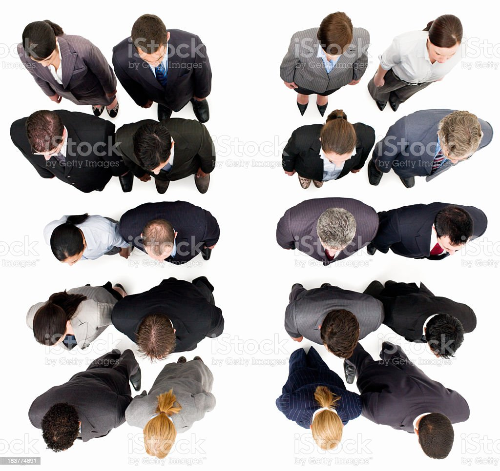 Businesspeople Standing in Rows - Isolated royalty-free stock photo