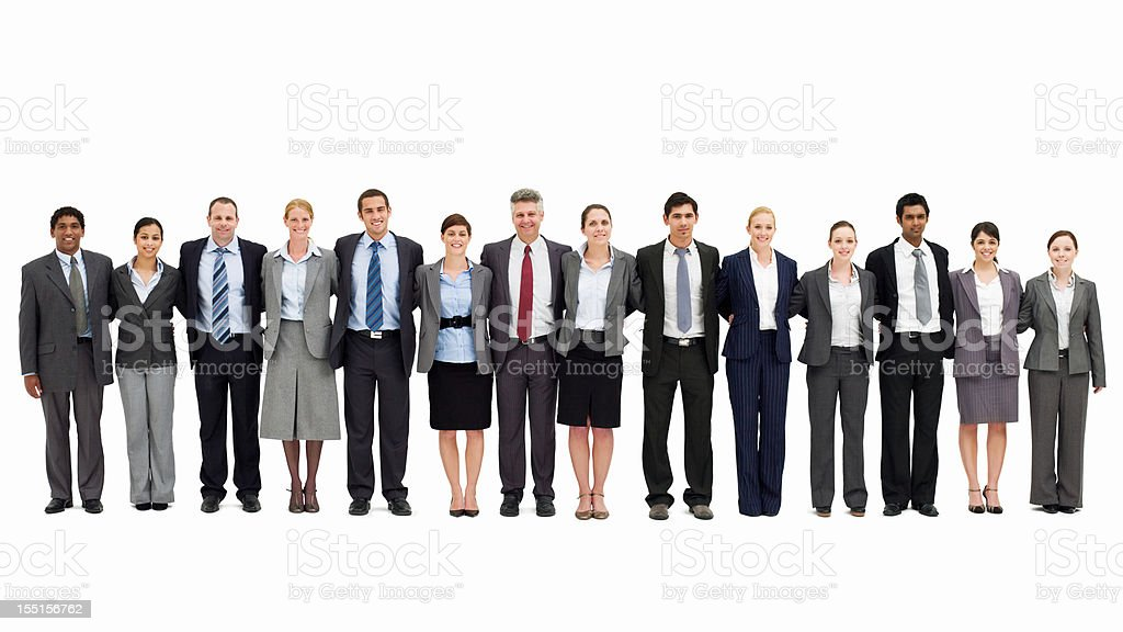 Businesspeople Standing with Arms Around One Another - Isolated stock photo