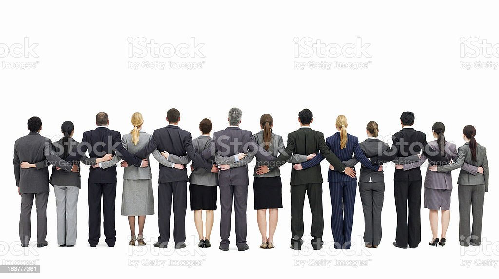 Businesspeople Standing with Backs to the Camera - Isolated stock photo