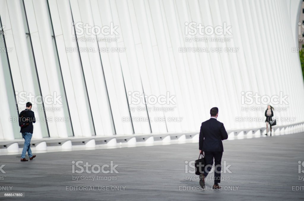 Businesspeople Walking at the Oculus World Trade Center Transportation Hub NYC