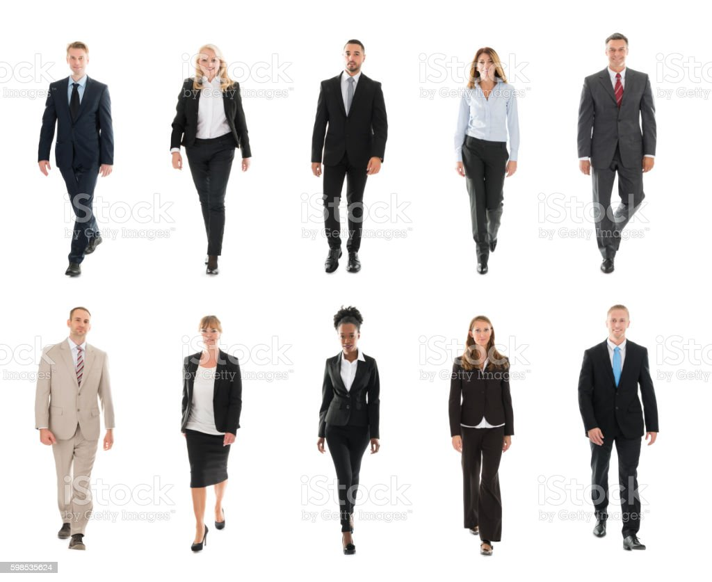 Businesspeople Walking Over White Background foto de stock libre de derechos