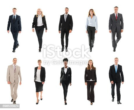 istock Businesspeople Walking Over White Background 598535624