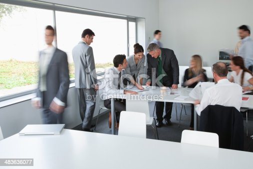 483635979 istock photo Businesspeople working in corporate training facility 483636077