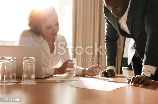 istock Businesspeople working on new business idea 497451458