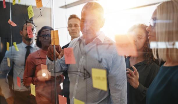 商人們在辦公室裡用粘糊糊的便條進行頭腦風暴 - 流程圖 個照片及圖片檔
