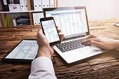 Businessperson Analyzing Gantt Chart On Laptop