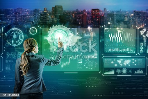 istock businessperson and futuristic interface. Internet of Things. Smart City. 851981500