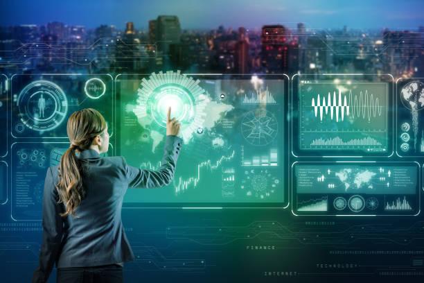 businessperson and futuristic interface. internet of things. smart city. - business woman hologram imagens e fotografias de stock