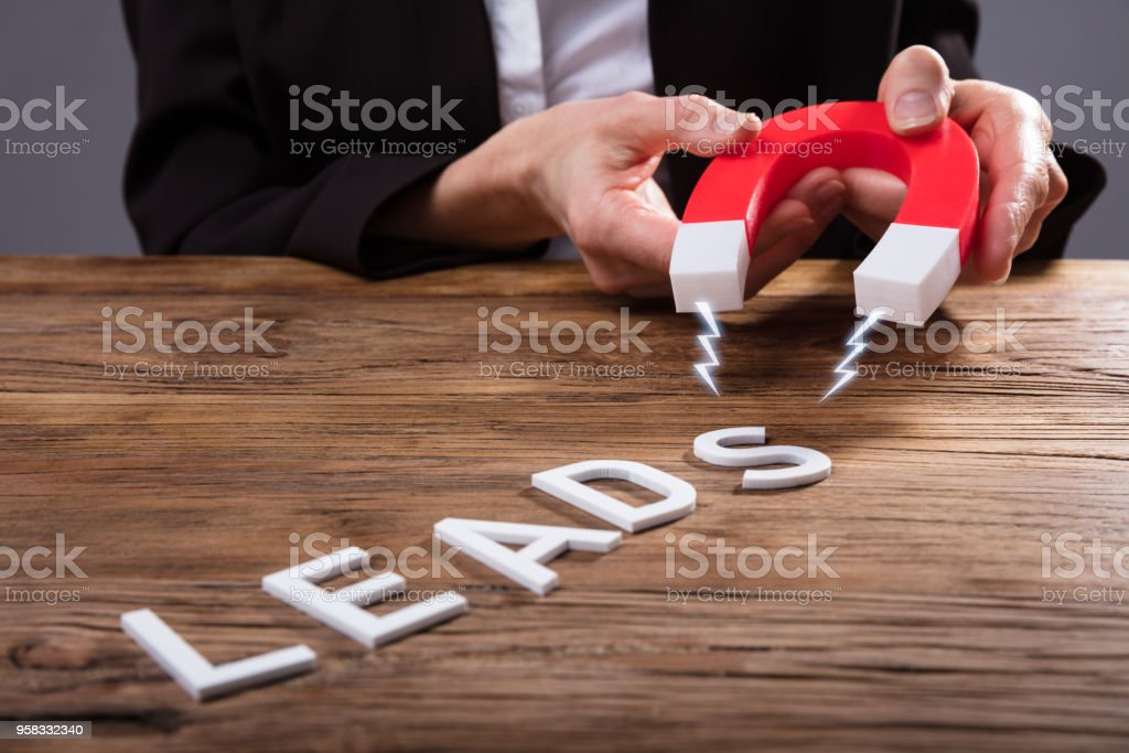 Businessperson Attracting Lead Text With Horseshoe Magnet stock photo