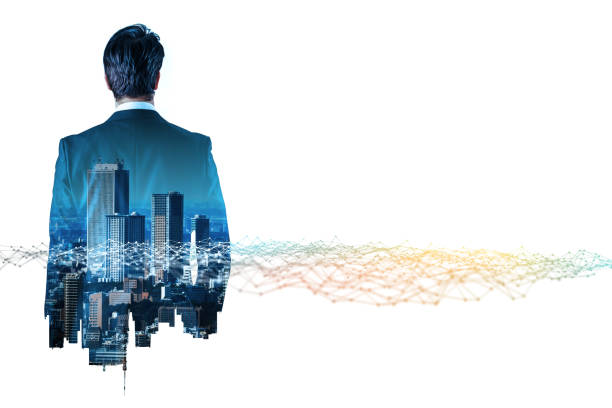 zakenman terug weergave en communicatie netwerk concept. internet van dingen. bedrijfstechnologie. - dubbelopname businessman stockfoto's en -beelden