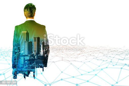istock businessperson back view and communication network concept. Internet of Things. business technology. 851981268