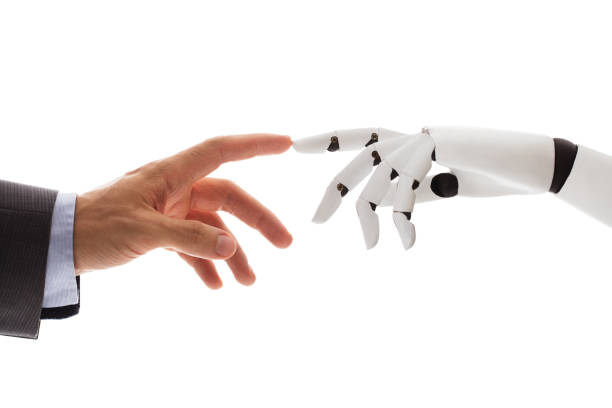 businessperson finger touching robotic finger - human finger stock pictures, royalty-free photos & images
