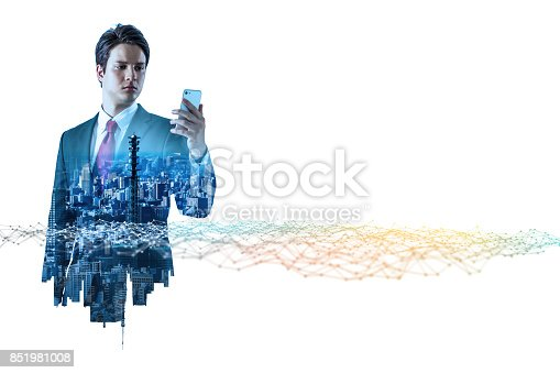 istock businessperson holding smart phone and communication network concept. Internet of Things. business technology. 851981008