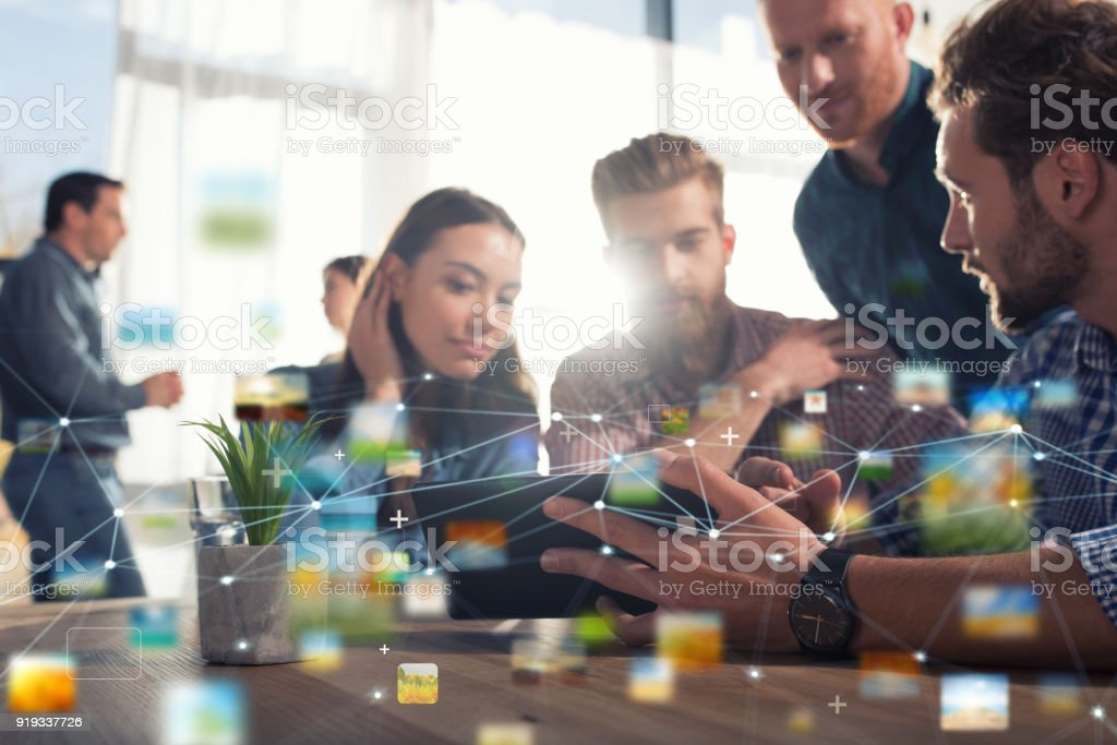 Businessperson in office connected on internet network. concept of partnership and teamwork royalty-free stock photo
