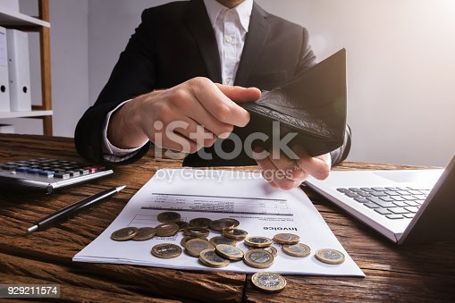 istock Businessperson's Hand Checking Wallet 929211574