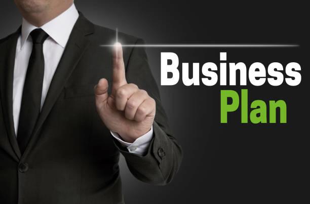 businessplan touchscreen is operated by businessman concept - businessplan vorlage stock-fotos und bilder
