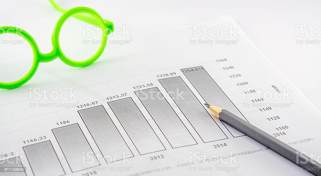 business,statistics,led pencil,glasces,histogram,etc stock photo