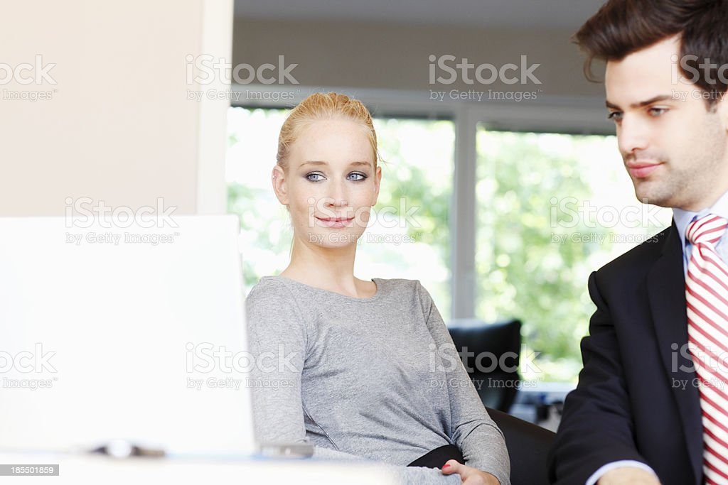 Businessteam Working On Laptop royalty-free stock photo