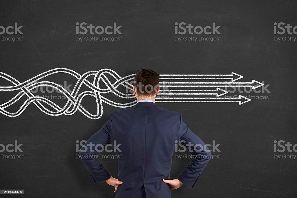 BusinessThinking about structuring business process and solutions stock photo