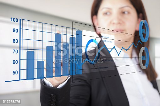 istock Businesswom analyzing graphics 517578276
