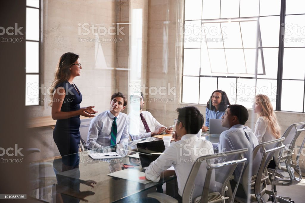 Businesswoman addressing colleagues at a meeting, side view - Royalty-free 20-29 Years Stock Photo