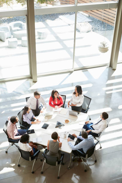 businesswoman addressing meeting, elevated view, vertical - business meeting, table view from above foto e immagini stock