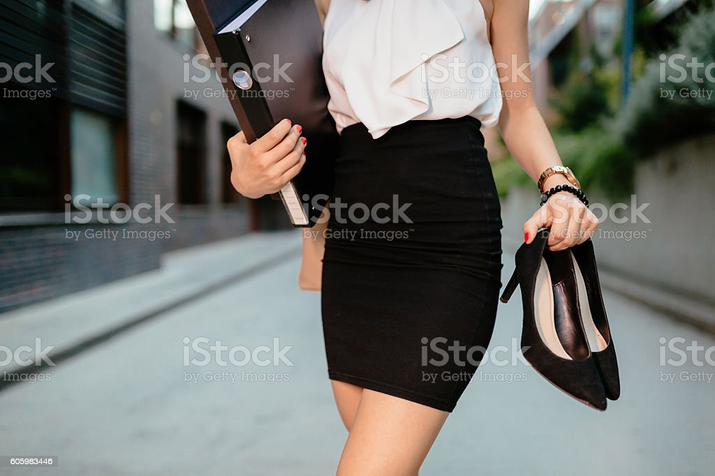 Businesswoman after work stock photo