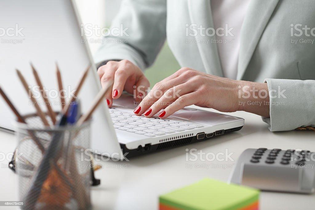 Businesswoman analyzing data stock photo