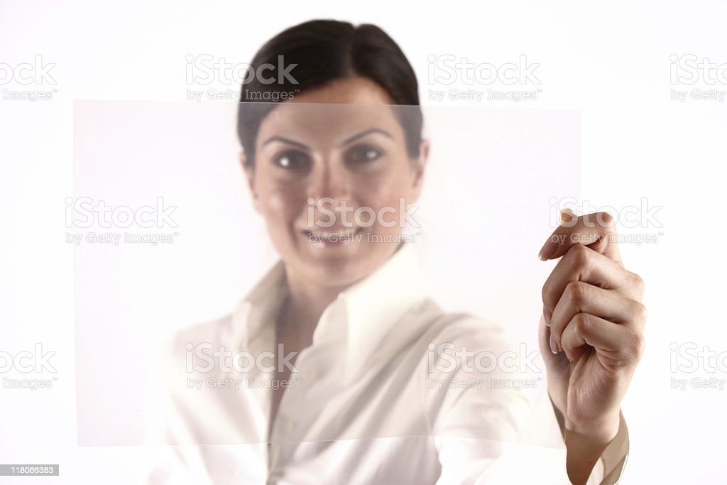 Businesswoman and blank transparency sheet royalty-free stock photo