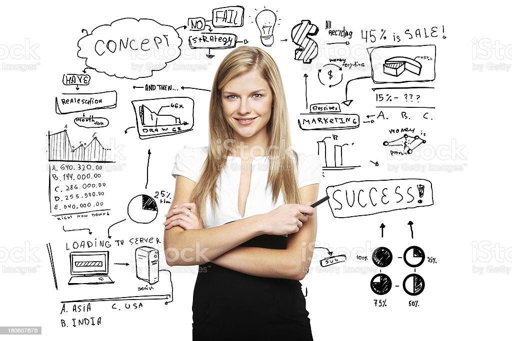 businesswoman and business plan royalty-free stock photo