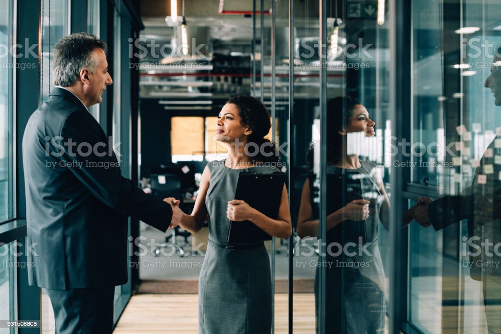 Businesswoman and businessman shaking hands. stock photo