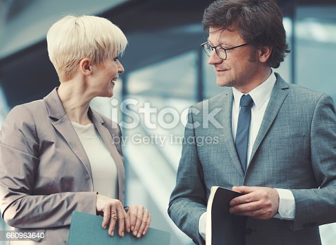 Businesswoman and businessman talking.