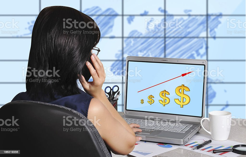 businesswoman and dollar chart royalty-free stock photo