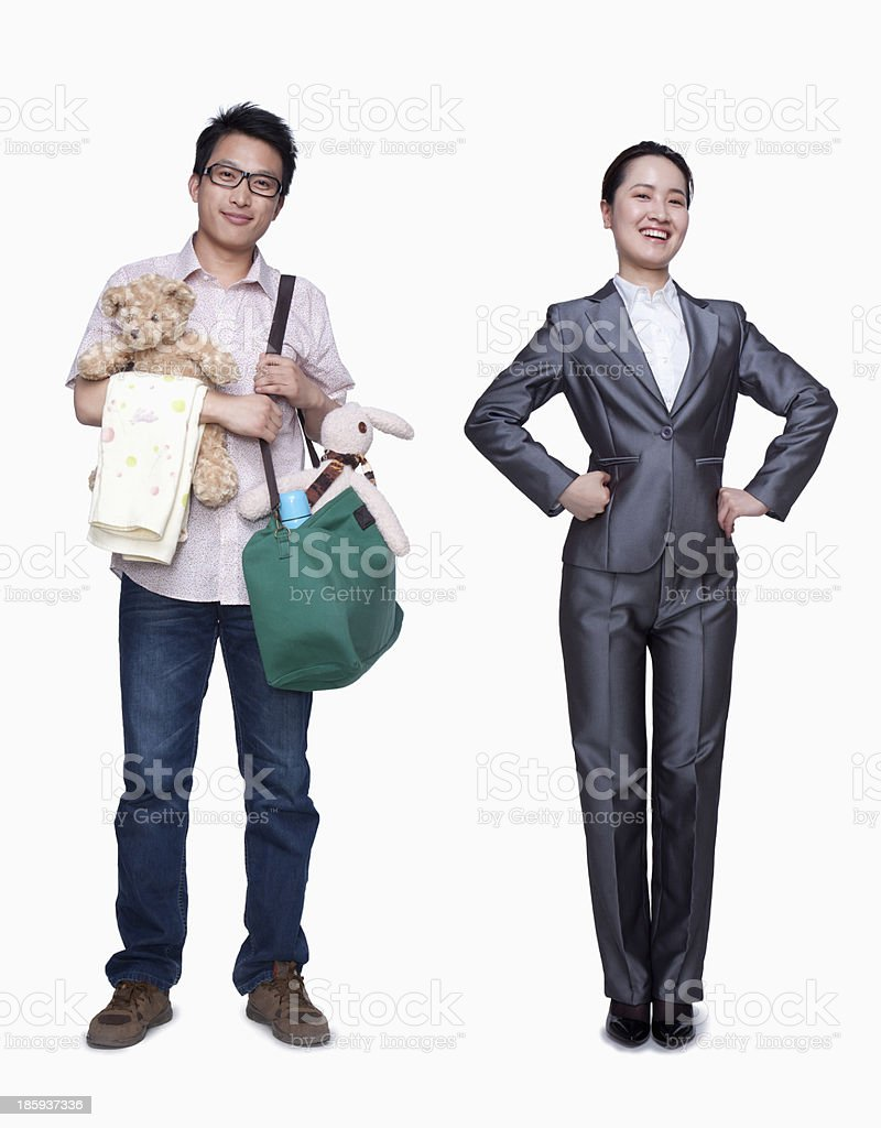 Businesswoman and stay in home father stock photo