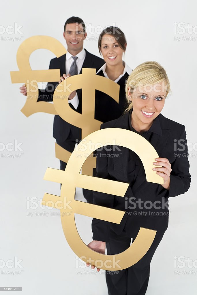 Businesswoman and Team With Currency Symbols Euro Dollar Pound royalty-free stock photo