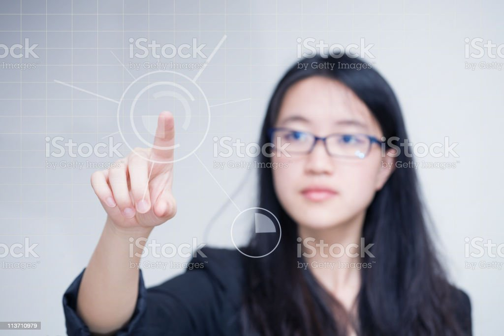 Businesswoman and technology royalty-free stock photo