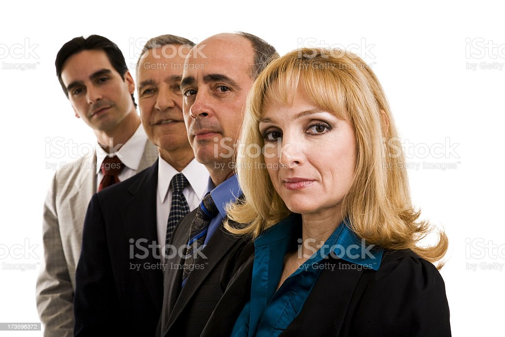 Businesswoman and three businessmen in a row stock photo
